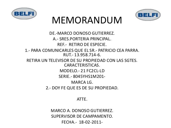 Ejemplos de memorandum
