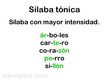 200 Ejemplos De Sílabas Tónicas
